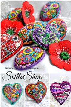 Textile art jewelry and accessories Felt brooch Heart brooch Textile Jewelry, Fabric Jewelry, Textile Art, Brooches Handmade, Handmade Gifts, Etsy Handmade, Felt Embroidery, Embroidery Stitches, Fabric Hearts