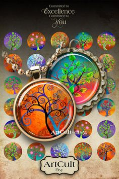 MAGICAL TREE CIRCLES - Digital Collage Sheet 1 inch size / 1.5 inch size Printable Images for pendants, bottle caps, paper craft, scrapbook