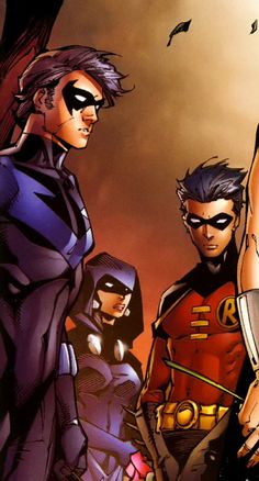 Nightwing,  Raven and Robin