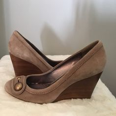 Coach taupe suede 3.5 inch heeled wedges Coach taupe suede 3.5 inch heeled wedges. Perfect for most seasons and extremely comfortable AND cute. Coach Shoes Wedges