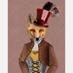 Vivienne Steampunk Fox Print, £13, now featured on Fab.