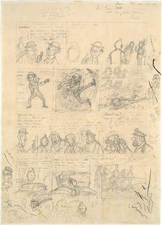 Hergé, planche de l'album de Tintin