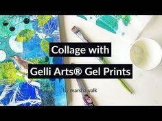 (1063) Collage with Gelli Arts® Gel Prints by Marsha Valk - YouTube Printing On Tissue Paper, Gelli Plate Printing, Gel Press, Gelli Arts, Colouring Techniques, Painting Techniques, Beautiful Collage, Ink Stamps, Printmaking