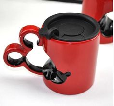 Online Shop Free Shipping Creative Cartoon Mickey And Minnie Ceramic Coffee Mug Cups With Lid Cover, White&Red,Gift For Children|Aliexpress Mobile
