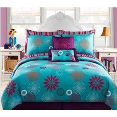 Blue Purple Teen Girls Twin Comforter Set Bonus Pillows 8 Piece Bed In Turquoise Comforterturquoise Bedroomspurple