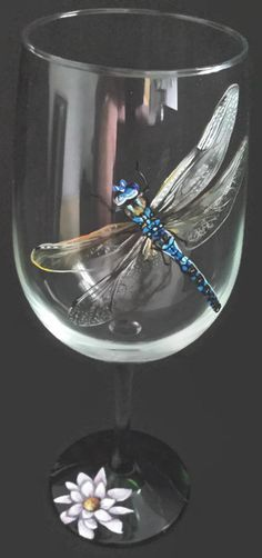 Dragonfly Wine Glass Hand Painted Nature by LKCustomCreations