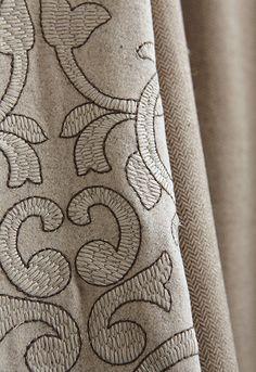 Byron Embroidered Wool in Oat, 66832.  http://www.fschumacher.com/search/ProductDetail.aspx?sku=66832    Telluride Wool Herringbone in Malt, 66791.  http://www.fschumacher.com/search/ProductDetail.aspx?sku=66791  Jackson Wool Velvet in Oat, 66734.  http://www.fschumacher.com/search/ProductDetail.aspx?sku=66734  #Schumacher