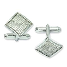 Sterling Silver & CZ Brilliant Embers Cufflinks QMP428 (8.85 Grams)