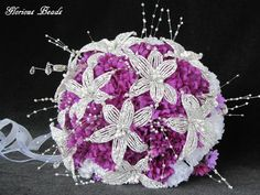 BEADED LILY Bridal Bouquet Wedding Flower 18 Piece Set White PURPLE Silver