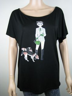 "Alice Brands new ""Equestrian Alice"" is one of a large range of women's tops featuring Dog Breeds for those who love their dogs. See them all on: www.etsy.com/shop/AliceBrands. www.alicebrands.co.uk."
