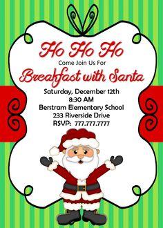 Breakfast With Santa Invitation | Santa Party Invitation | Customize Wording | Christmas Invite Class Party Invitation by PerfectedbyGrace on Etsy