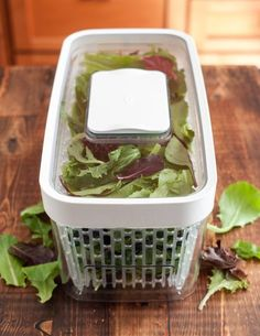 OXOs GreenSaver Produce Keeper Keeps Your Salad Greens Fresh All Week Long - Refrigerator - Trending Refrigerator for sales. - Need to check this out.OXO's GreenSaver Produce Keeper Keeps Your Salad Greens Fresh All Week Long Kitchen Hacks, Kitchen Gadgets, Cooking Gadgets, Kitchen Tools, Kitchen Makeovers, Kitchen Products, Kitchen Ideas, Kitchen Design, Kitchen Appliances