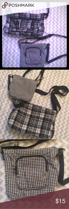 🌸SALE🌸2 small shoulder crossbody purses Set Of 2 unbranded small crossbody purses/bags, black and white plaid and square design, different on each bag as pictured. Both have adjustable straps and a couple of pockets. Both are in very gently used condition, no stains or rips and barely any use. These are soft sided bags, have been washed so they have a tiny bit of possible wash wear.  Measurements- Larger bag- Length: 12.5 in.  Height: 8.5 in.  Width: 3-4 in.   Smaller bag- Length: 8.5 in…
