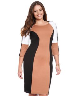 Neutral Colorblocked Dress | Women's Plus Size Dresses | ELOQUII    NEEEEEED