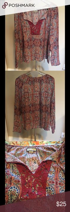 Super Cute Long Sleeve Top This beauty is super cute and the colors are gorgeous! This top has only been worn once and is excellent condition with no flaws. Ethereal Tops