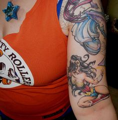 awesome Wonder Woman tattoo by cupcakes and roller skates, via Flickr