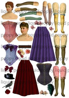 Paper Doll Victorian    6 Collage Sheets No 198     wings and extra corsets  Emailed to you. $3.50, via Etsy.