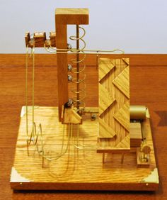 Twist and Spin - Mesmerizing Handcrafted Oak and Brass Marble Machine Run. Steel Bearings on Wood and Brass Track. by SuburbanWoodCraft on Etsy Rolling Ball Sculpture, Marble Toys, Marble Machine, Maker Space, Wood Architecture, Automata, Wood Toys, Kugel, Wood Working