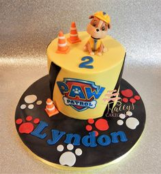 Rubble Paw Patrol cake Moana Birthday Party, Cool Birthday Cakes, 2nd Birthday, Batman Birthday, Birthday Ideas, Rubble Paw Patrol Cake, Torta Paw Patrol, Over The Hill Cakes, Cumple Paw Patrol