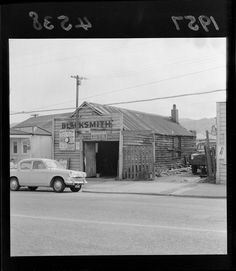 Photograph taken for the Evening Post newspaper of Wellington by an unidentified staff photographer. Quantity: 1 b&w original negative(s). Tauranga New Zealand, The Hutt, Blacksmith Shop, Kiwiana, Old Pictures, Abandoned Places, Blacksmithing, Maps