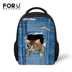 Cute Kids School Bags Lovely 3D Animal Cat Print Schoolbag for Children  Casual Little Boy Girls bc197f7753438
