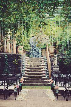 elegant ceremony setup - photo by Tamiz Photography http://ruffledblog.com/sophisticated-hawaiian-wedding-at-haiku-mill #weddingceremony #ceremonies #hawaiiweddings