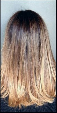 Straight hair light ombre