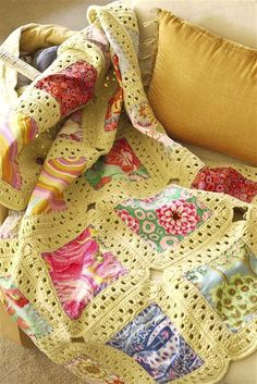 Good idea for all those kids clothes that have special memories & recycling old sweaters (FREE YARN!) Crochet quilt!