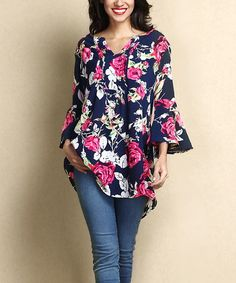 Another great find on #zulily! Navy & Fuchsia Rose Chiffon Tie-Front Hi-Low Tunic #zulilyfinds