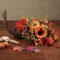 Fall Thanksgiving Cornucopia Centerpiece