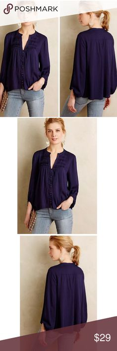 """ANTHROPOLOGIE PINTUCK PEASANT BLOUSE TOP by MAEVE Anthropologie Pintuck Peasant Blouse  $68 retail price  Brand new without the tag, inner label marked, top is in perfect condition  Details:  Deep Blueish Purple Lightweight woven rayon Button front silhouette with gathered sleeves and splitneck Hand wash Imported Size 8: armpit to armpit flat 20"""", front length 21.5"""", back length 24"""" Anthropologie Tops Blouses"""