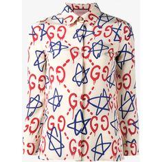 25712e2e392 GUCCI Trevor Star and Logo Printed Silk Shirt (€850) ❤ liked on Polyvore