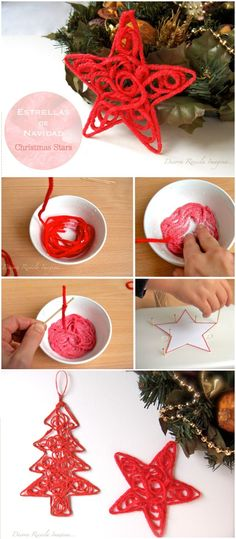 Christmas Star Ornaments 20 Easy DIY Christmas Crafts To Try This Christmas Christmas Activities, Christmas Crafts For Kids, Xmas Crafts, Diy Christmas Ornaments, Diy Christmas Gifts, Christmas Decorations, Diy Ombre, Christmas Star, Simple Christmas