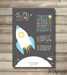 54321 Blast Off Boy Birthday Party Invitation - Rocket Ship Outer Space Alien Moon Saucer Cute Unique Modern Grey DIY Boy Birthday