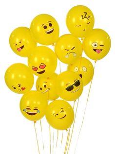 PuTwo Emoji Universe Series One: Latex Emoji Smiley Face Balloons 72 Pack Yellow