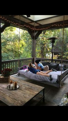Porch bed swing - Would love this! Eloisa Valdez eloisa_valdez Patio Porch bed swing - Would love this! Eloisa Valdez Porch bed swing - Would love this! eloisa_valdez Porch bed swing - Would love this! Patio Porch bed swing - Would love this! Future House, Farmhouse Front Porches, Screened Porches, Rustic Porches, Rustic Patio, Farmhouse Windows, Rustic Outdoor, Modern Farmhouse Porch, Screened Porch Designs
