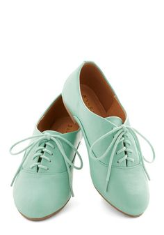 Everyday Adorable Flat - Flat, Faux Leather, Mint, Solid, Casual, Weekend, Good, Lace Up