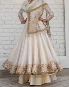 iridescent Ivory white gold Chanderi silk anarkali w delicate gotta-tilla embroidery & soft tulle dupatta & sharara by rimple harpreet narula Pakistani Fashion Casual, Pakistani Outfits, Indian Outfits, Indian Fashion, Pakistani Couture, Nikkah Dress, Anarkali Dress, Anarkali Suits, Punjabi Suits