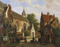 Une scène de rue à Delft de Willem Koekkoek (1839-1895, Netherlands)