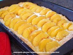 Yummy Peach Cake ... just like Oma made. Check it out at http://www.quick-german-recipes.com/plum-cake-recipe.html NOW!