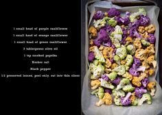 A rainbow of cauliflower being prepared for the oven