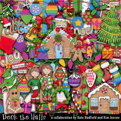 COLLAB: Deck the Halls (with Kim Jensen)--A kit packed with goodies and lovely papers AND tons of Xmas spirit! Sweet drawings by Kate Hadfield, and colorful, gorgeous papers and elements by Kim Jensen.  35% off during Xmas in July at The Lilypad. Seriously great deal!