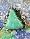 Early Navajo Ring with Triangular Mint Green Turquoise Stone Sterling Silver Size: 8 1/2