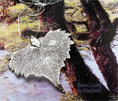 Heart shaped leaf necklace, silver dipped, Natures Leaves Jewelry, Pendant charm and chain. $12.95, via Etsy.