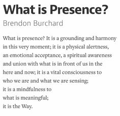 [this we should be greedy in developing. develop as much presence as you possibly can.] What is Presence?