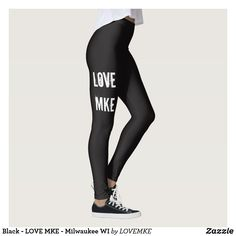Black - LOVE MKE - Milwaukee WI Leggings