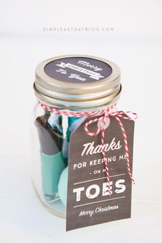 These little pampering jars include a nail file, nail clippers, a cute pair of socks and a bottle of nail polish.