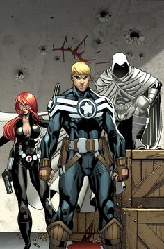 Secret Avengers: Black Widow, Cap, and Moon Knight by carlo barberi