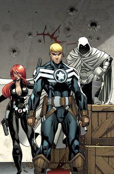 Secret Avengers | Black Widow, Captain America and Moon Knight