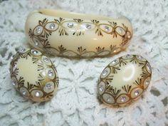 Rhinestone Lucite Clamp Cuff Bracelet Earrings